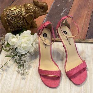 Pink Strappy High Heel Sandals. size 8.5
